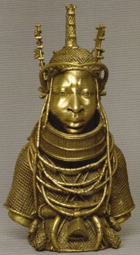 A bronze statue of a king of Benin (present-day Nigeria)