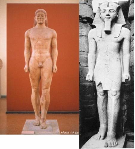 Greek statue & Egyptian statue using the same posture - standing with a foot before the other and the arms along the body. We can see that Egyptian sculptures influenced the first Greek sculptures.