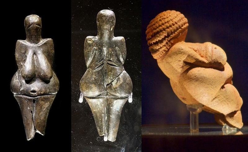 Right : Willendorf Venus (Austria). 23 000 years old, with African braids. Left : Venus of Dolni Vestonice Venus of Dolni Vestonic, Czech Rep. 29 000 yrs old, African shape. Museum of Natural History.