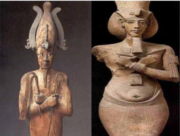 Akhenaten in the same position as Osiris, with the same emblems as Osiris, showing that despite his reforms and innovations, he stays attached to his ancestors from the valley of the Nile's spirituality.