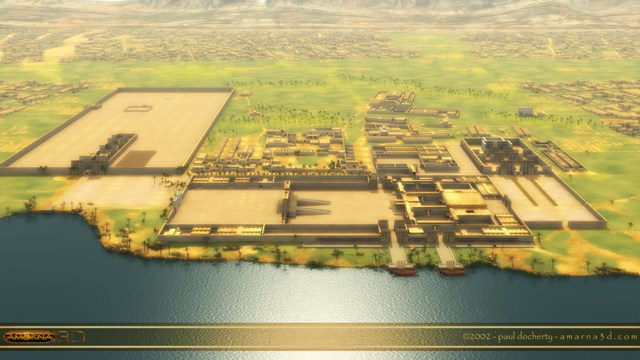 3D reconstitution of an overview of the Aten horizon city (AkhetAten) with the main infrastructures and its surroundings.