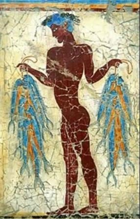 Minoan fresco (in Crete) representing a fisher with his fishes, 1500 years before the current era. Look at his skin!