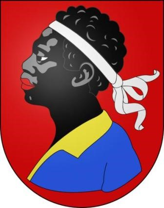 The Moor head with white headband, symbol of the city of Avenches in current Switzerland, city formerly called Aventicum during the Roman era.