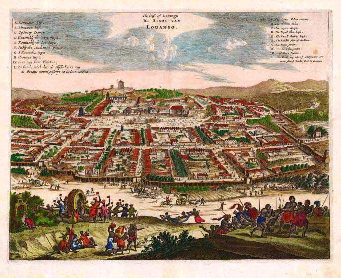 City of Loango, in Kongo, as seen by the Europeans when they arrived.