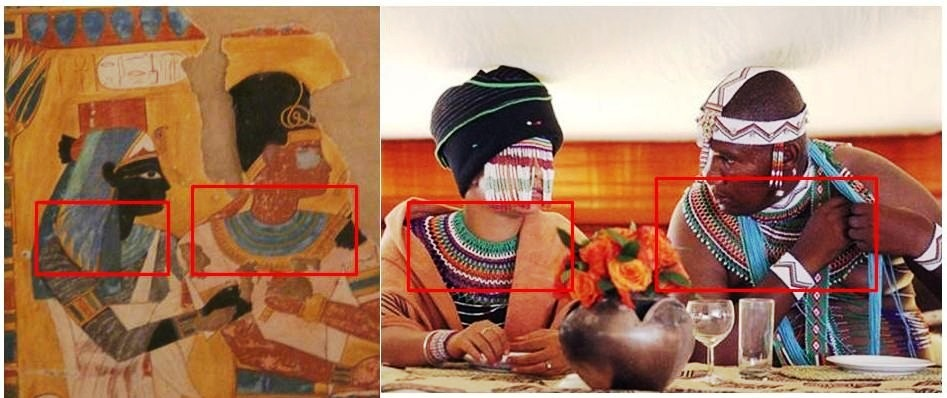 On the left: Yahmesu Neferet-Iry & her brother and husband Pharaoh Yahmesu. They are the founders of the 18th dynasty. On the right: The Xhosa chief Mandla Mandela, Nelson Mandela's grand-son & one of his wives. The principle of the collar of the pharaohs exists also in South Africa.