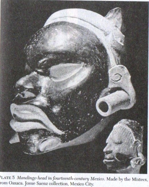 Mandingo head. Recognizable thanks to its large earrings West African women use, as described by the European explorers at that time. Source: They Came Before Columbus, Ivan Van Sertima, page 137.