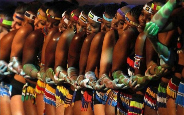 Venda women from South Africa, dancing Domba, an initiation choreography that imitates the movements of the snake.