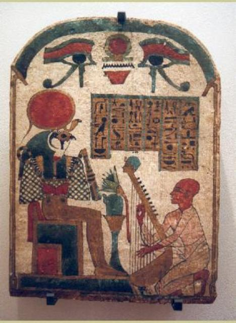 Pharaonic tablet in the museum of Louvre – France – on which we can see Djedkhonsuiuefankh, a harp player, who during a sacred rite; worships Ra while singing. Our ancestors used to say that what we call music today was the word that eases the heart of God – Imana/Amen/Amon.