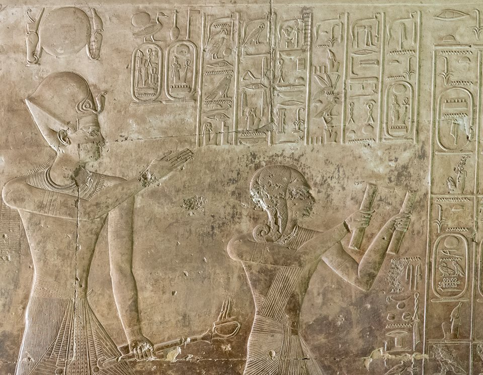 Wasire Suti Mery-n-Ptah & Ramesu Maryimana in Abydos. Fresco discovered by Auguste Edouard Mariette.