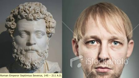 Sculpture representing the Roman Emperor Septimus Severus & a European man. Usually, when the European is not mixed, their hair is straight like the man on the right. Therefore we can clearly see that the Roman emperor has curly hair, balled up, what testifies his interbreeding.