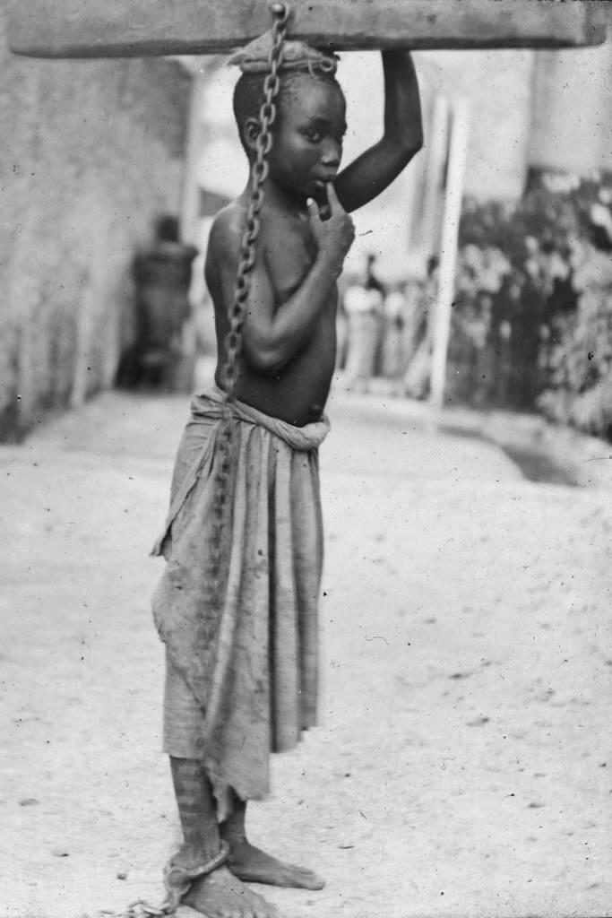 Child slave in the Tanzanian island of Zanzibar, dominated at the time by the Arabs of Oman, in 1890