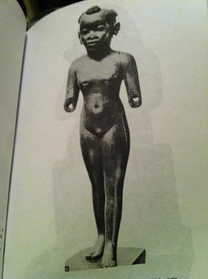 Wooden sculpture of an ancient Egyptian young lady with a totemic hairstyle called Djub and Pah in Senegal; Source: Nations Négres et Culture (Negro nations and culture), Cheikh Anta Diop, page 89