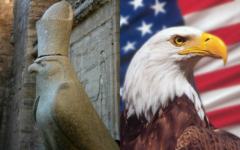 On the left, the falcon, totem of pharaoh's power. On the right, the sea eagle, sign of the USA president's power. Handing over through Native Americans?