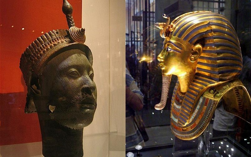 A snake on the forehead of a Yoruba-Edo chief (of current Nigeria) & snake on the forehead of Pharaoh Tutankhamen