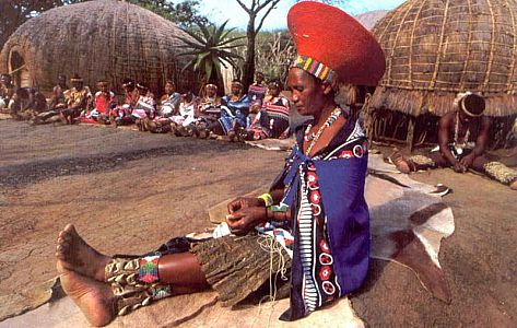 Zulu woman wearing the famous hat 'isicholo', worldwide known through the singer Brenda Fassie