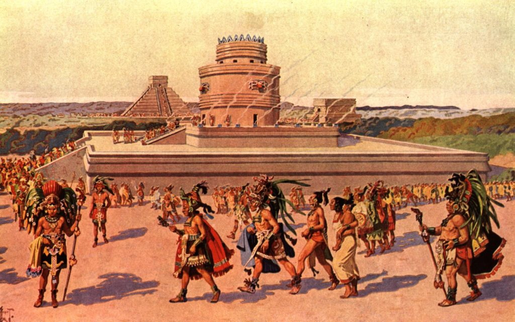 Illustration of the Mayan civilization. Everything is there except the real colour of Mayans.  Source : Georgia Primary College