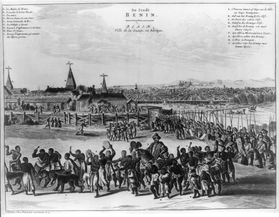 Ancient Benin City – Authentic representation of the kingdom of Benin by the Dutch explorer Olivier Dapper, during the XVII century. Image showing a procession of the king. We can see a well-disciplined royal guard and people in harmony with felines.