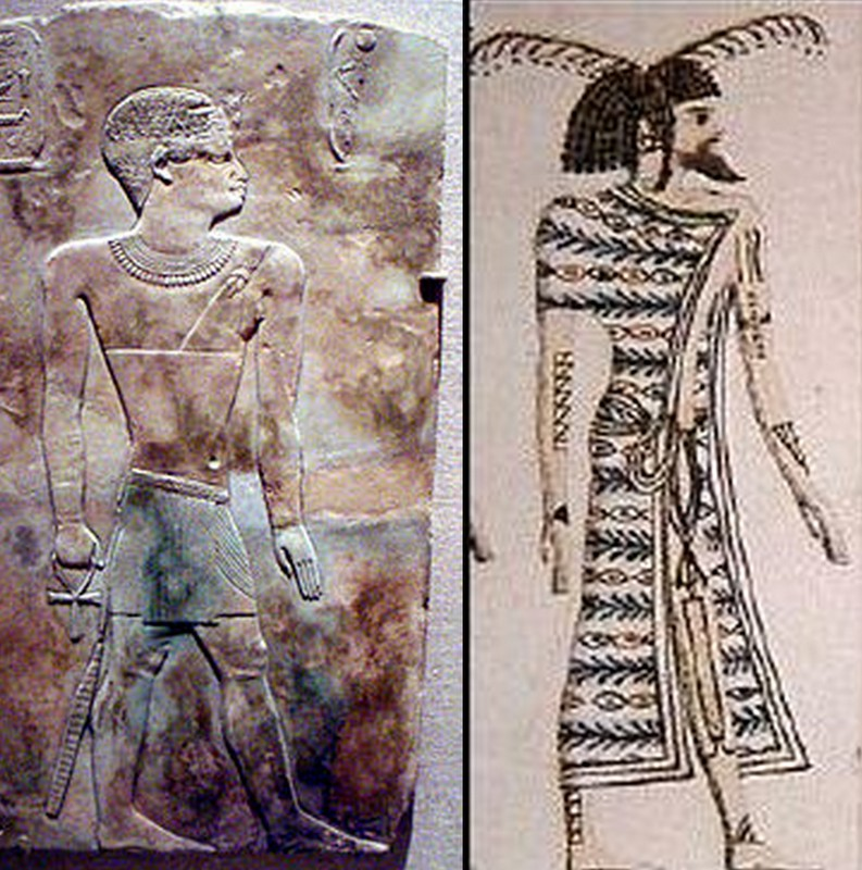 Left : Iuput, Pharaoh from the invading Lybian dynasty of Egypt. He was a black man (Brooklyn Museum) Right : A Tamehu, Suti's tumb