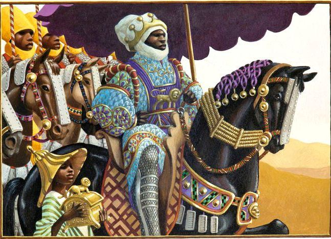 Mansa Kankan Musa, legendary Emperor of Mali and the richest man of all times; Illustration by Khephra Burns, edited by Leo and Diane Dillon