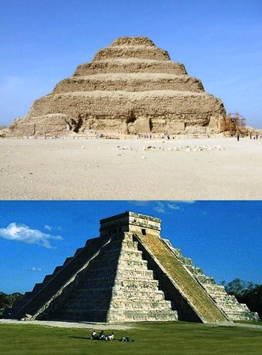 An African pyramid and an American pyramid