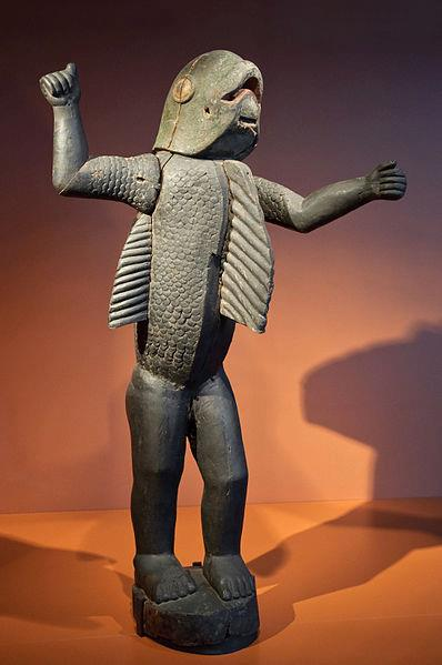 Behanzin's totemic representation; the shark's head and scales are to be noticed (Quai Branly Museum, France)