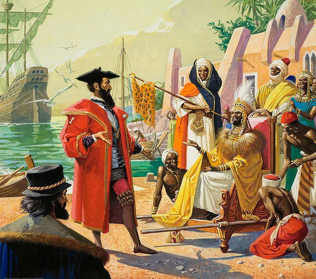 Illustration of the arrival of Europeans in Africa Unknown author
