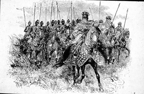 The Mogho Naba, king of the Mossis, at the head of cavalry