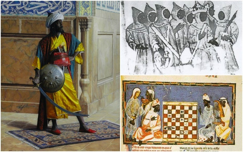 Berbers, also called Moors, as the Europeans saw them in Spain and Portugal Left: Illustration, unknown author Right, up: Moorish royal court in Spain (Source : Jean Philippe Omotunde for Africamaat) Right, down: Moorish dignitaries playing chess in Spain (Source : The Golden Age of The Moor, édité par Ivan Van Sertima, page 29)