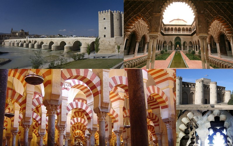 Moorish architecture in Spain at Cordoba, Granada, Seville and Zaragoza Source : Wikipedia