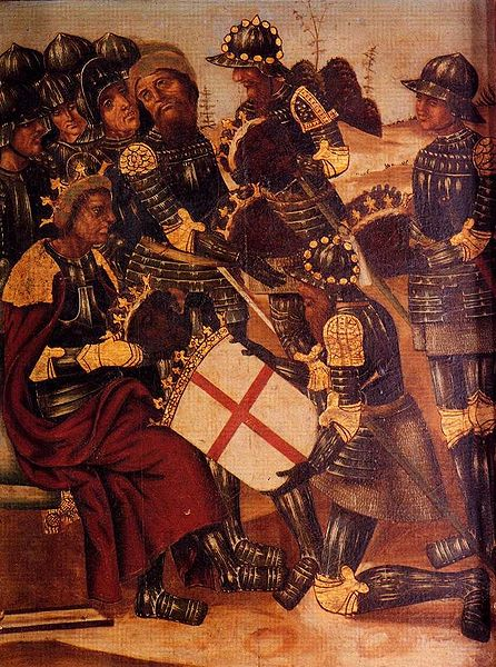 The Christian Spanish King Peter of Aragon, receiving the decapitated crowned heads of four Moorish rulers of the Almoravid dynasty. We can see that the heads are excessively black Source : Wikipedia