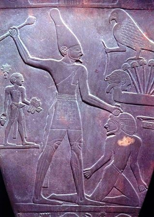 Pharaoh Nare Mari, founder of unified Egypt, sacrificing maybe a white man