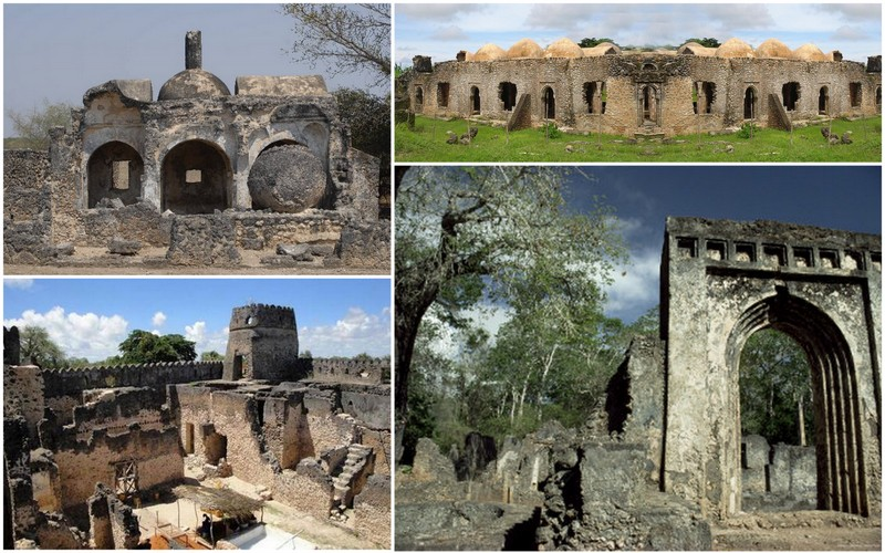 Vestiges of the Swahili civilization on the coasts of Tanzania and Kenya