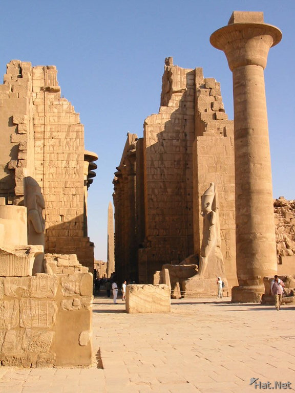 The gigantic constructions of Taharqa in the biggest religious building in human history: The temple of Karnak in Egypt. Karnak was dedicated to the worship of Ama/ Imana/ Amen/ Nyamien/ Nyambe/ Nzambi etc..., the unique God of Africa.