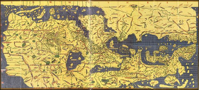 Map of the 12th century (several centuries later) drawn by the Arab Al-Idrisi, according to those very ancient norms. We see Europe below our continent
