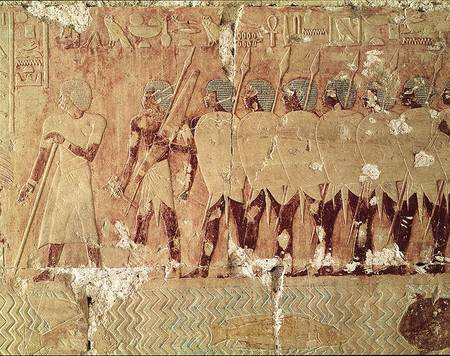 XIR68329 Relief depicting soldiers sent by Queen Hatshepsut on an expedition to the Land of Punt to bring back ingredients for use in temple ritual, from the Mortuary Temple of Hatshepsut, c.1503-1482 BC, New Kingdom (painted limestone) by Egyptian, 18th Dynasty (c.1567-1320 BC) painted limestone Deir El-Bahri, Thebes, Egypt Egyptian, out of copyright