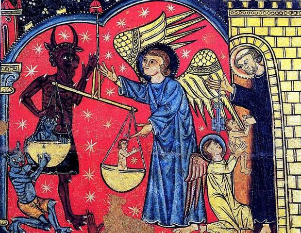 "Spanish fresco of the 13th century representing the Christians' saint, Saint Michael weighing the ""good souls"" (white) on a scale facing the devil (a black devil with frizzy hair, horns and claws) also weighing some ""evil souls"" being demonized and blackened."