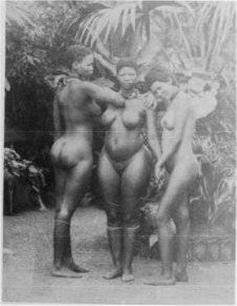 Stripped and exhibited women to the public in a human zoo in the West