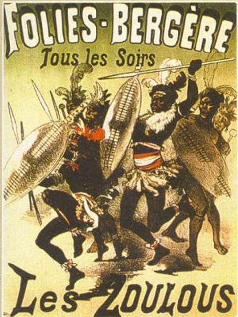 Advertising poster for a human zoo in France. We can see the illustration of the people who are to be exhibited and their names