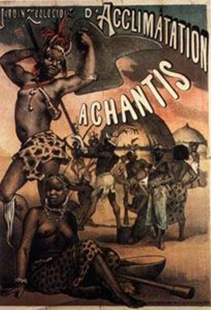 Advertising poster for a human zoo in France. One can see the illustration of the people who are to be exhibited and their names