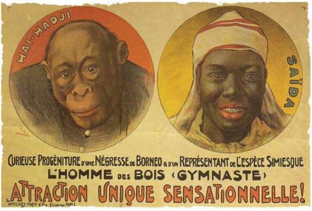 Poster during those times of human zoos where we can see a Black associated to the monkey's image.