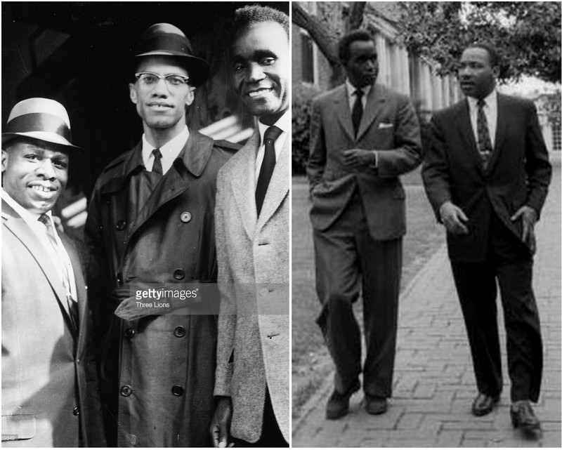 Kenneth Kaunda en compagnie de Malcolm X et Martin Luther King
