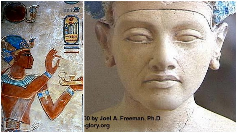Pharaoh Ramesu Hekayunu (Ramesses III) at the left Pharaoh Akhenaten with his African features at the right
