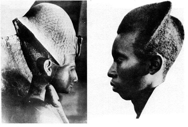Pharaoh's Military helmet, here Ramesu Maryimana. It is in reality an African hair style. Hair style used by Rwandan Banyarwanda until very recently.