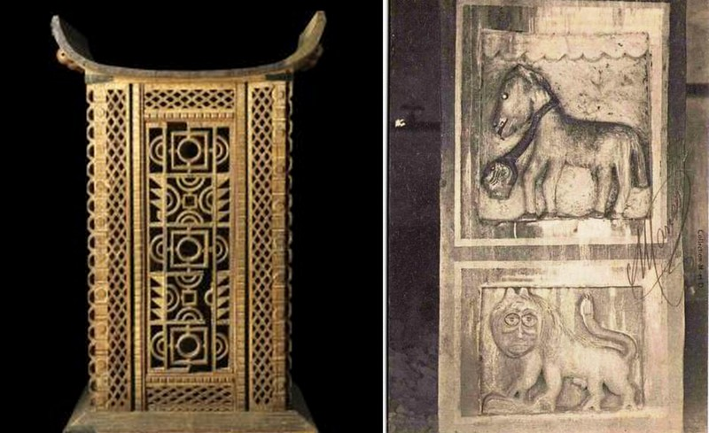 Left : Throne of Behanzin in the Museum of Quai Branly in France Right : Representations in the palace of Behanzin