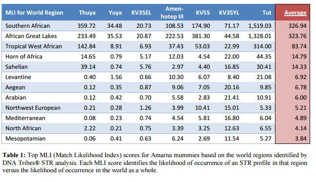 Résultats de DNA Tribes : Indice de compatibilité génétique de 326 avec l'Afrique australe, 323 avec les grands Lacs et 83 avec l'Afrique centrale/Afrique de l'Ouest. Pour comparaison, les Blancs sémitiques, européens ou berbères sont entre 3 et 7.
