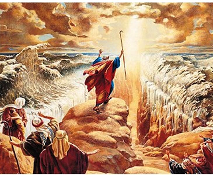Illustration de Moise ouvrant la Mer rouge pour faire sortir les Hébreux d'Egypte. Il s'agit là d'une fable absolument grotesque. Aucun pharaon n'est mort noyé dans la mer