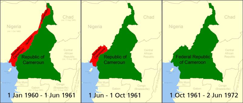 Le Cameroun anglais et le Cameroun français La partie nord du Cameroun anglais fut unifiée avec le Nigeria. La partie sud fut réunifiée avec le Cameroun français