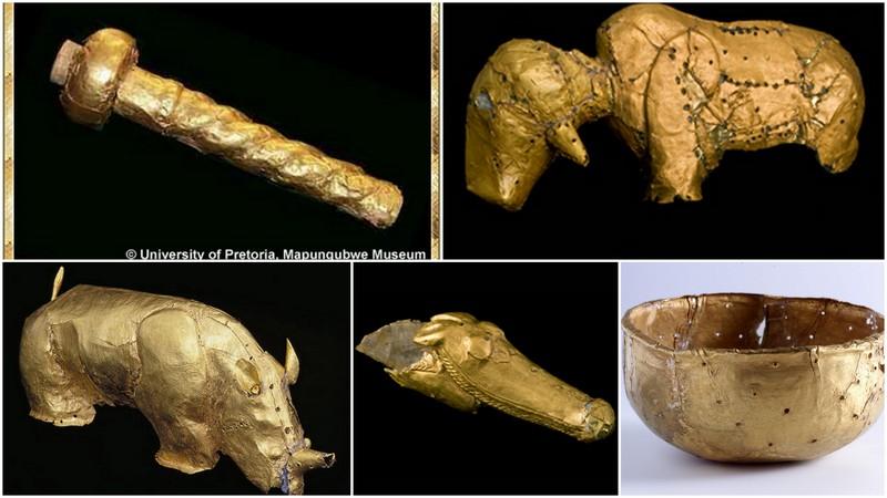 Sculptures de Mapungubwe, couvertes de feuillets d'or