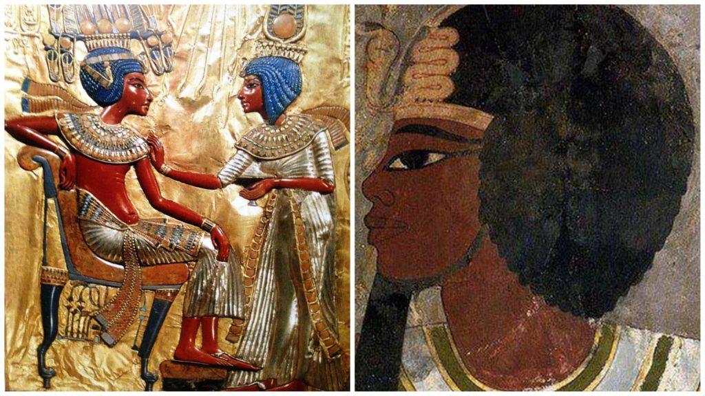 A gauche Toutankhamon et sa femme le reine Ankh-Sen-Imana, fille d'Akhenaton et de Nefertiti A droite le grand pharaon Amenhotep III, père d'Akhenaton